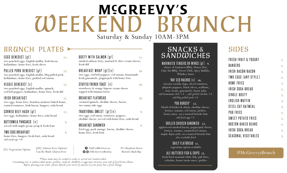 McGreevy's Boston Brunch Menu