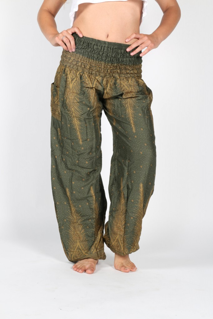 One Tribe Apparel Forest Green Peacock Harem Pants