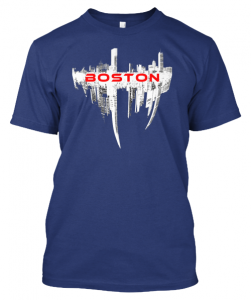 Boston T Shirt Men's Crew Blue