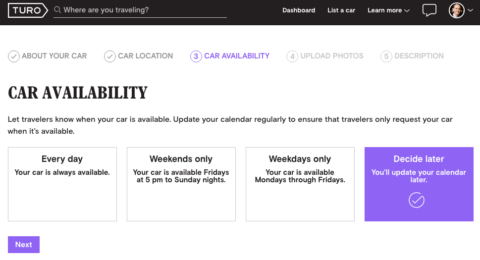 Turo Car Rental Availability Schedule
