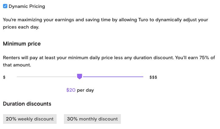 Turo Custom Pricing Options